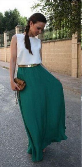 Scoop Sleeveless Splicing Belt Long Chiffon Dress