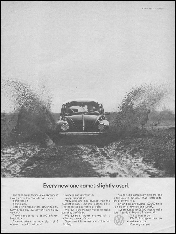 Every new one comes slightly used - VW ad 1968