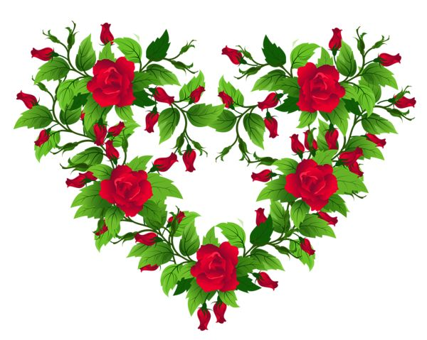 Red Roses Heart Decor PNG Clipart Picture