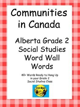 Alberta Grade 2 Social Studies Word Wall Words