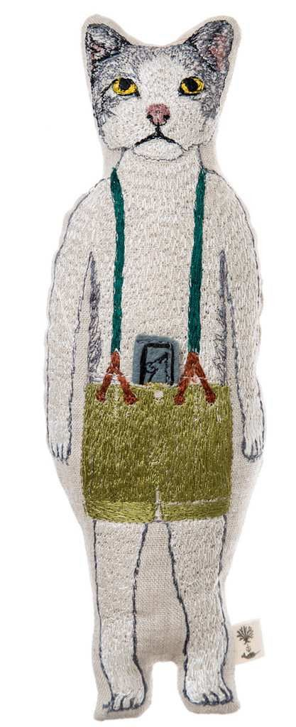 Kitty Embroidered Linen Pocket doll