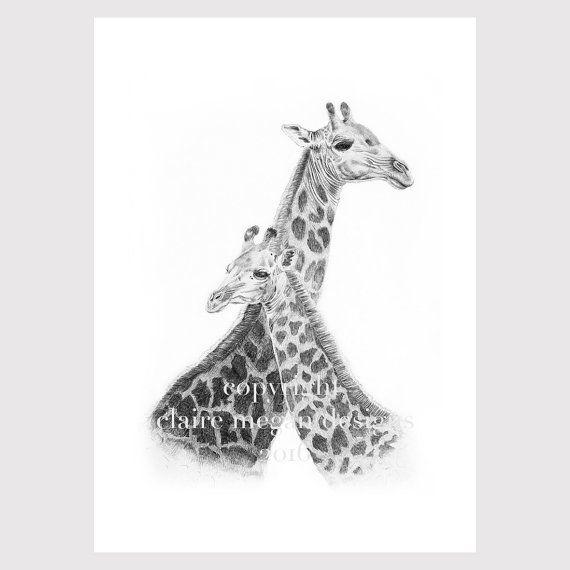 Giraffe illustratie afdrukken grafiet door ClaireMeganDesigns