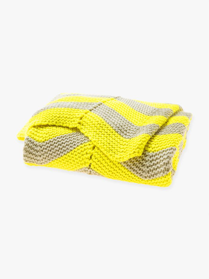 AURA Linen Chevron Throw in Bright Yellow, available at Forty Winks