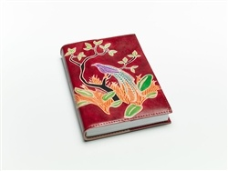 """Hand painted motifs on """"cruelty-free"""" leather...100% tree-free paper refills inside! Beautiful & sustainable!"""