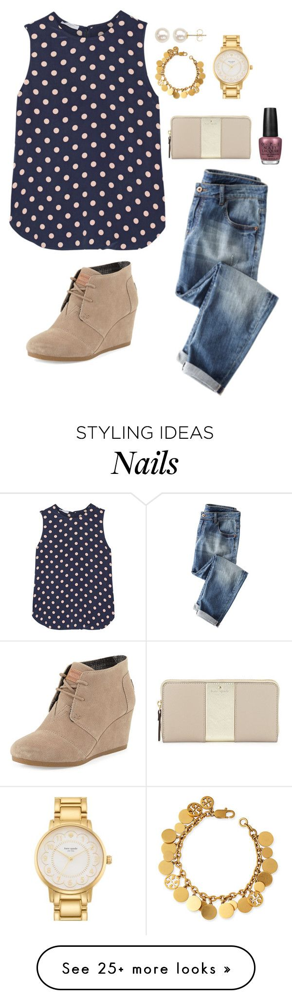 """I need a snow day tomorrow"" by valerienwashington on Polyvore featuring Equipment, TOMS, Tory Burch, Kate Spade, Honora and OPI"