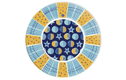 Stelle e pianeti, blu, azzurro e arancio, elementi perfetti per chi viaggia tra le stelle - Piattino diam. 23 cm - conf. 10 pz - www.mago-party.com