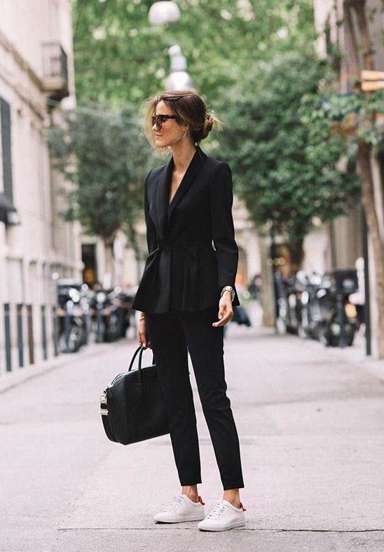 Amazing How to style a chic all black outfit. All black blazer and slacks. Fashion lookb…