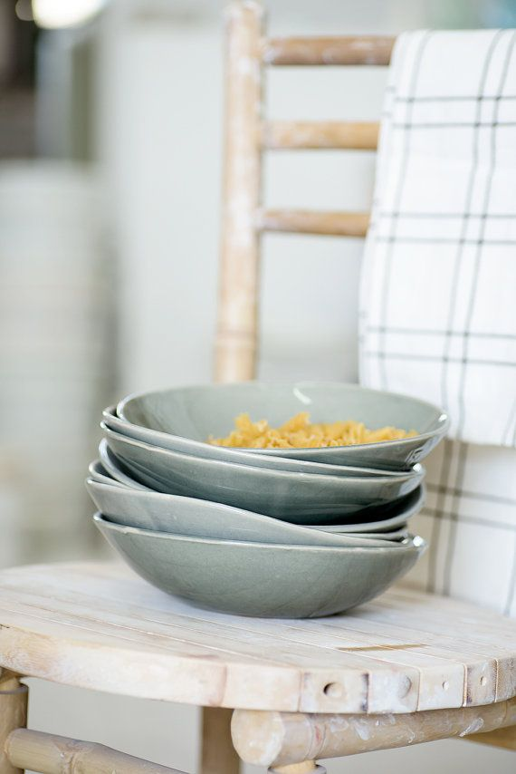 Set of 4 Pasta Bowl, Gray Bowl, Ceramic Serving Bowl, Christmas Gift  This bowl comes as a set of 4 bowls. The bowls were designed by me, each