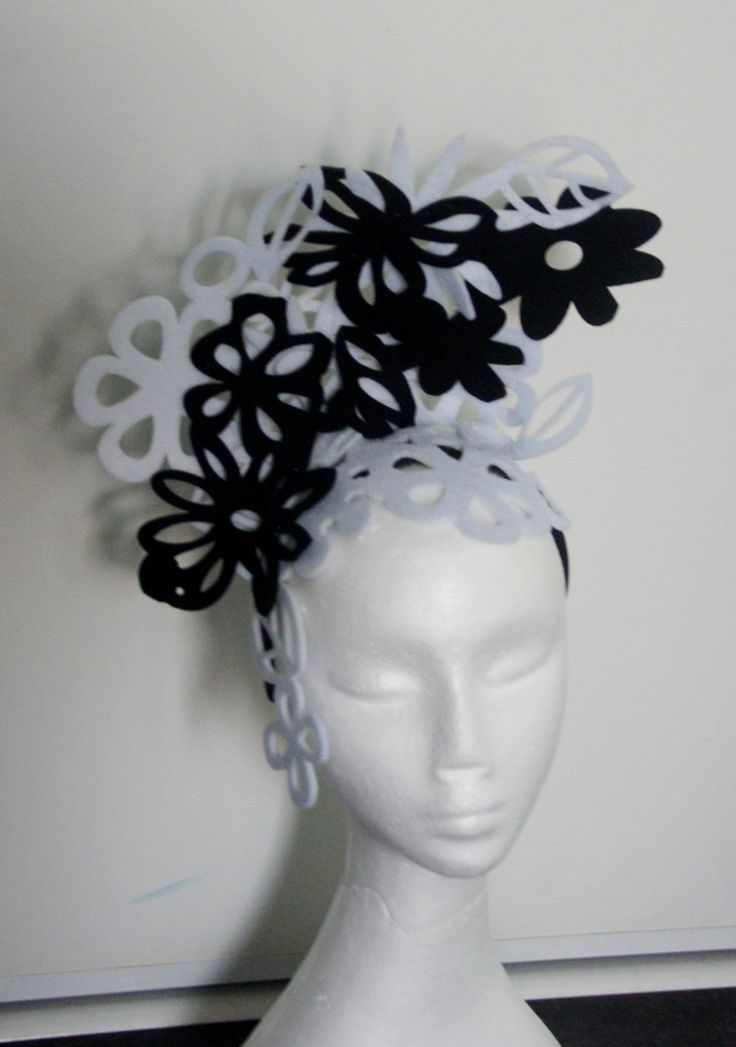Designer fascinator one of a kind. Black and white cut out felt flowers hand sewn on headband races, cup fashions on the feild by TwistedInTheTropics on Etsy