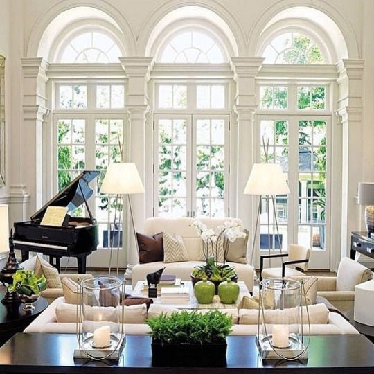 Traditional Living Room With Baby Grand Piano