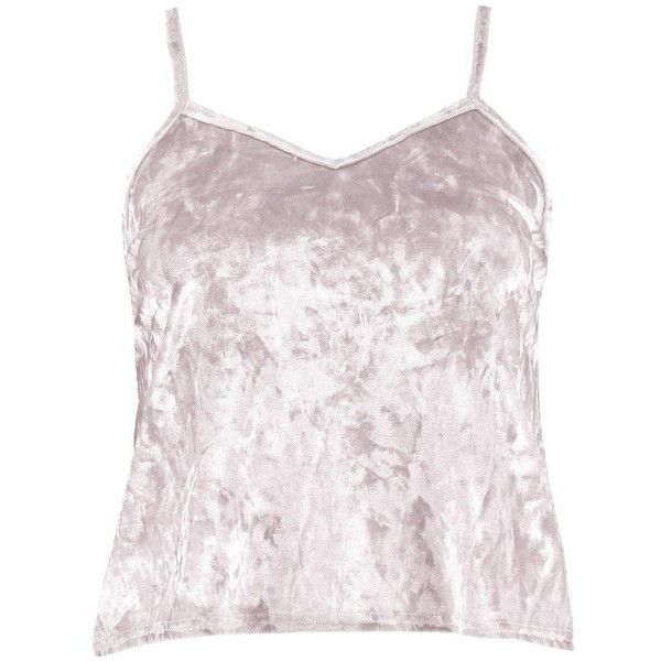 Boohoo Petite Shelly Crushed Velvet Cami Top (£14) ❤ liked on Polyvore featuring tops, boohoo tops, camisole tank, cami tank tops, pink tank top and pink cami