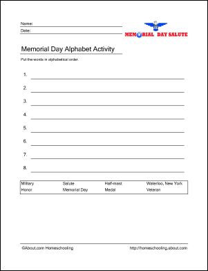 Memorial Day Printables: Memorial Day Alphabet Activity