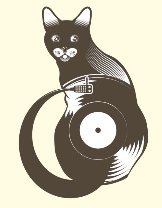 cat record player great picture art pinterest vinilos vinil y musica. Black Bedroom Furniture Sets. Home Design Ideas