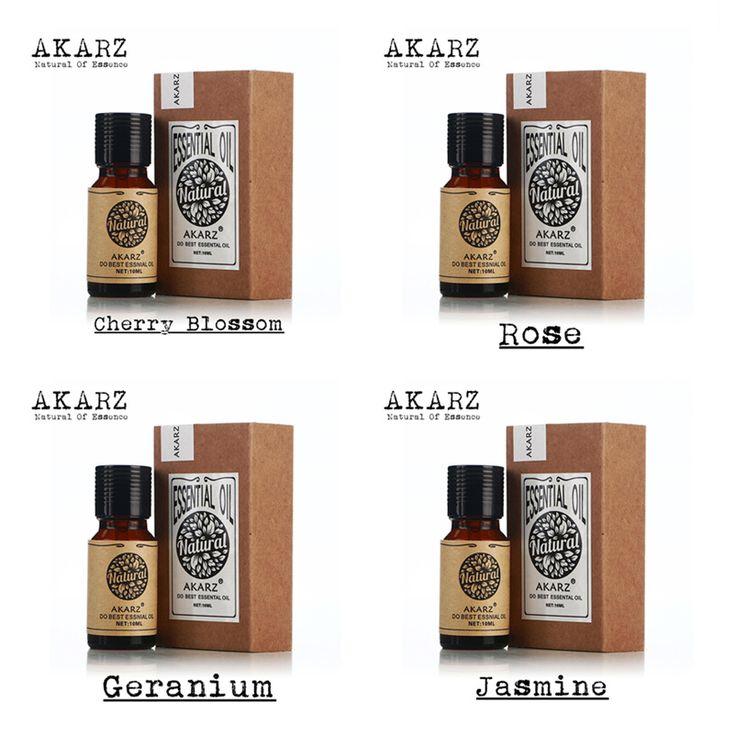 Akarz famous brand puro fiore di ciliegio rosa geranio olio essenziale di gelsomino aromaterapia oli essenziali, massaggi, Spa, bagno 10 ml * 4