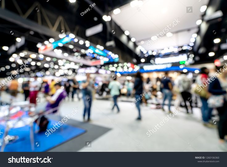 Abstract blurred defocused tradeshow event exhibition, business convention show, job fair, technology expo. Organization company trade fair event. Mar…