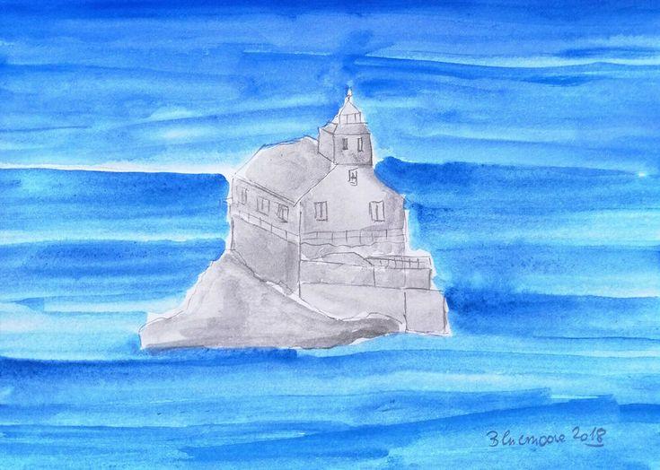 Original Zeichnung Aquarell auf Papier Landschaft Leuchtturm ca. 14,5x21cm