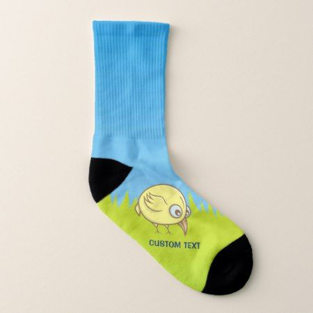 Yellow Bird Cartoon Socks - click/tap to personalize and buy
