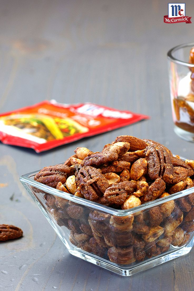 Go nuts for taco nuts! McCormick Taco Seasoning Mix is an easy way to spice up your favorite nuts in this homemade mixed nuts recipe. Munch on 'em alone or add them to snack mix with popcorn and pretzels for a quick and easy party snack.