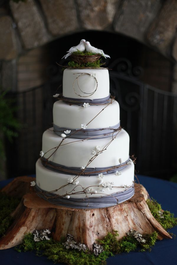 Rustic Wedding Cake With Birds In Nest Topper