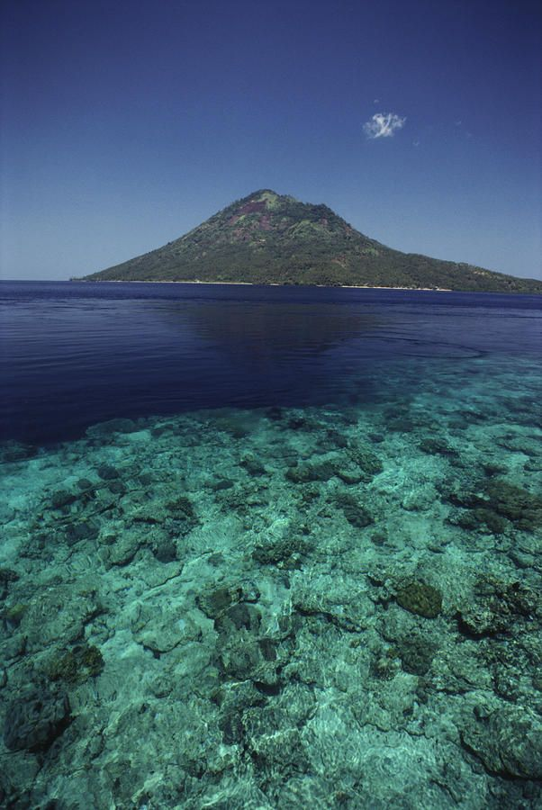 ✮ Indonesia - View of Manado Tua Island from Bunaken Island, coral reef, blue ocean