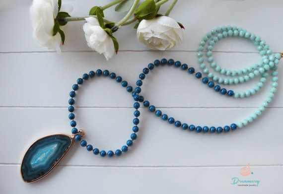 blue natural crystal necklace with blue fossil beads