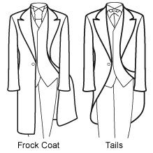 Know Your Suits  Tails are generally worn for Weddings and are a popular choice for Royal events, such as Ascot and investitures. They gently cut away at the front and go to full length at the back. Well fitted tails should reach down to the back of the knee.  Frock Coats are of a Victorian persuasion. A full length jacket, longer than Tails, they are designed not to fasten – giving an 'edge to edge' overcoat style