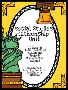 How hard is it to find time in the day to teach social studies, let alone prep for it?? This Interdisciplinary Citizenship Unit is designed so you can teach it during your ELA and Math blocks! There are 20 days of lessons plans including:-Read Alouds-Writing Activities-Leveled Guided Reading Passages with Questions (E, H & L) about American Symbols-Math Activities-Research Projects-Craftivities and much more!Minimal prep is required for this unit plan!