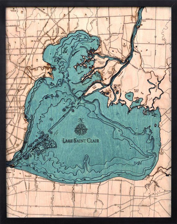 lake st clair topographic map Lake St Clair Wood Carved Topographic Depth Chart Map Wood lake st clair topographic map