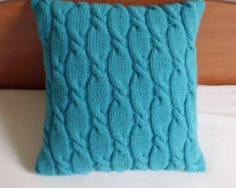Cavo maglia cuscino caso, maglia Throw Pillow, cuscino decorativo dell'alzavola, a mano a maglia copertura del cuscino, federa turchese 16x16