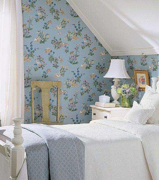 Love attic rooms or rooms with slanted ceilings.  They were just made for a charming wallpaper like this Thibaut paper. Mmmmm....English Cottages!