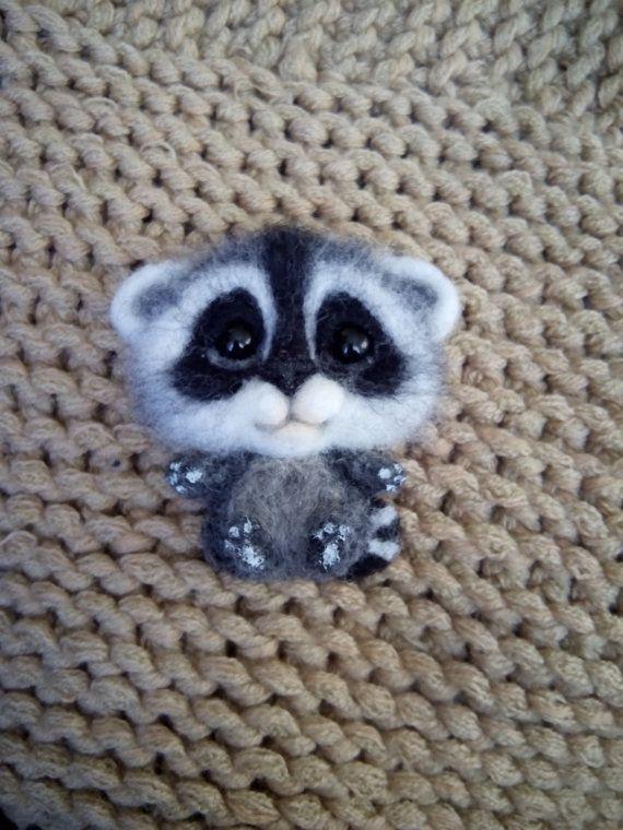 felt brooch raccoon handmade brooch animal brooch by FeltPositive