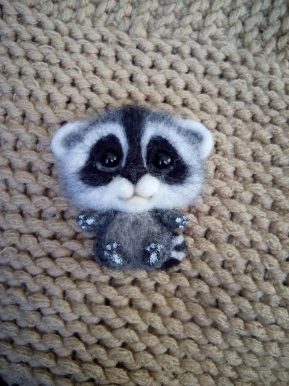 felt brooch raccoon handmade brooch animal brooch by FeltPositive