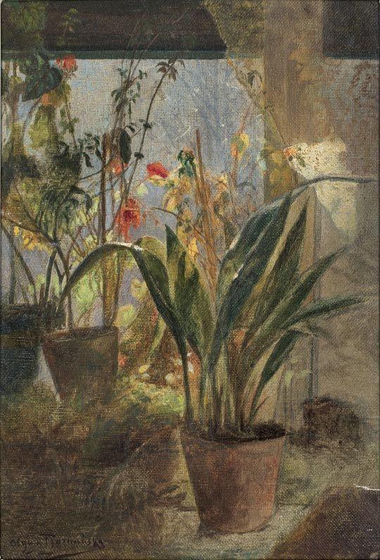 """Olga Boznańska """"Kwiaty w oknie"""", przed 1890, olej na płótnie, 30,5 x 20 cm, własność prywatna"""