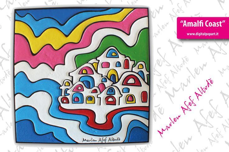 """Amalfi Coast"" 59x59cm Bassorilievo in polistirolo  #pop #popart #digital #art #arts #artwork #digitalpopart #artcollective #artfido"