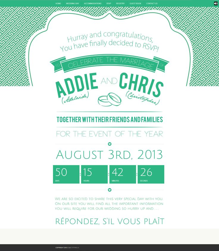 Needing a fantastic website to match our invites we quickly went to work. With all sorts of fancy things like an RSVP page, guest book, background music, and contact forms we made it easy for all from near or far to participate!  Check out our website at www.addieandchris.com #weddinginvitations @Addie Wilson @Aleksandar Tosovic