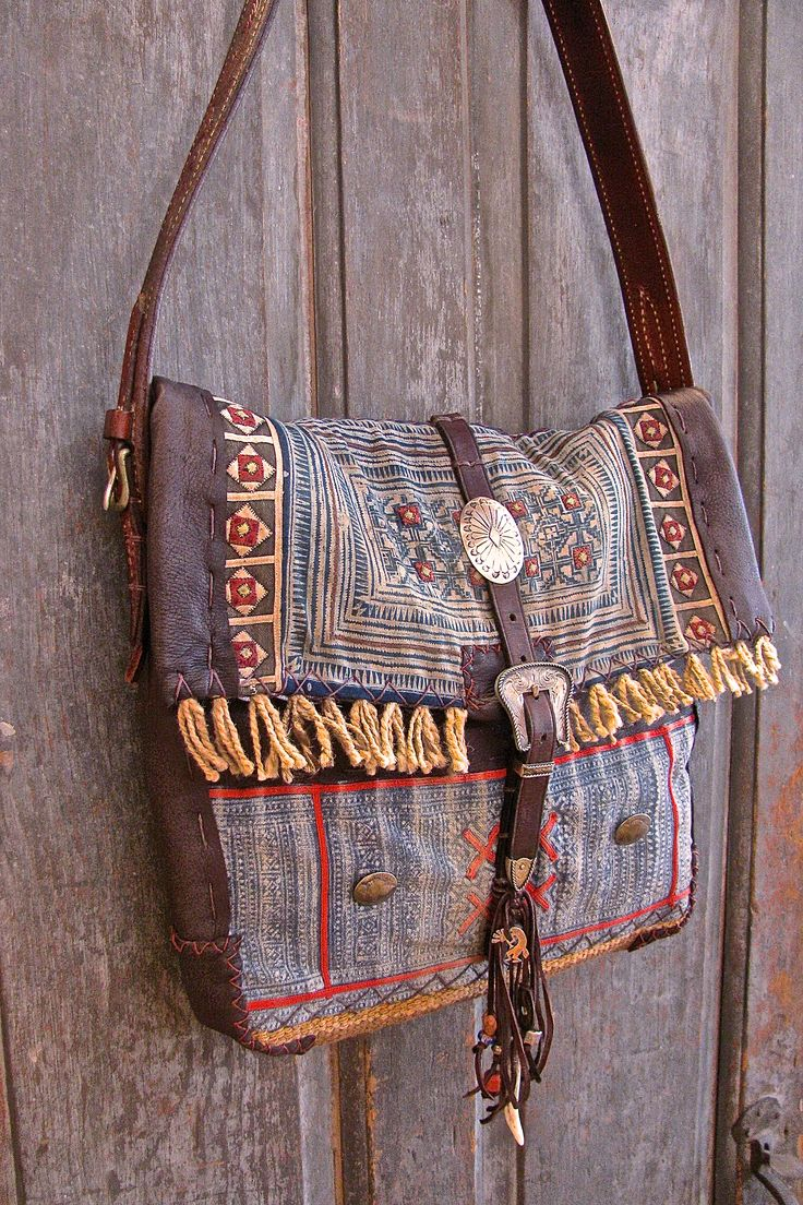 Hill Tribe Saddle Bag. Vintage ethnic textile, western tack pieces, hand sewn detail, sterling silver