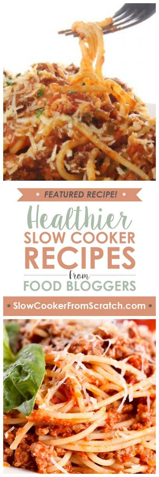 Dry spaghetti cooks right in the CrockPot in this Slow Cooker Skinny Spaghetti from Skinny Ms. I think this sounds delicious for an easy and healthy spaghetti dinner the whole family will love! [found on SlowCookerFromScratch.com]