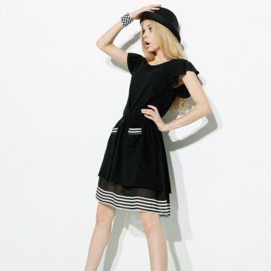 Western Style Cotton Black Dress