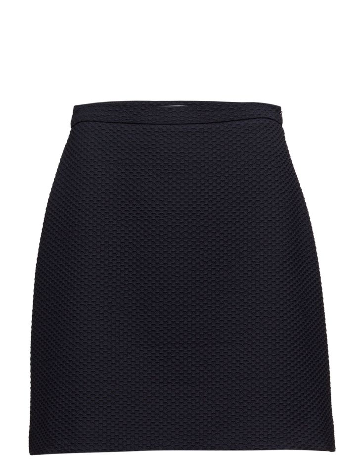 DAY - 2ND Widi Side zip closure Textured fabric Back darts Stretch fabric Casual elegance Chic Classic Skirt Navy