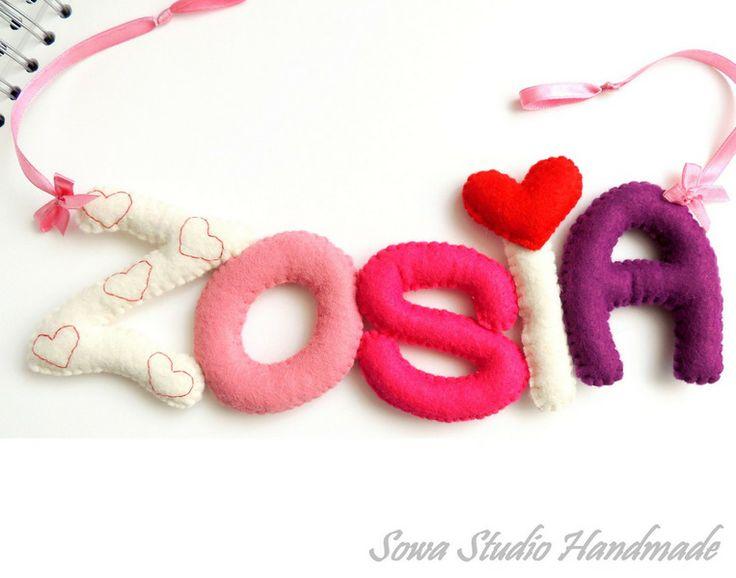 Buchstaben aus Filz - beliebig Name des Kindes von Sowa Studio Handmade auf DaWanda.com
