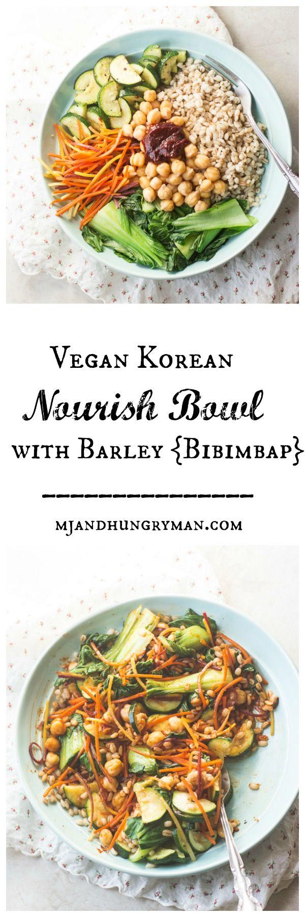 Vegan Korean Nourish Bowl with Barley {Bibimbap} @mjandhungryman - make sure your kimchi is vegan if you choose to use!