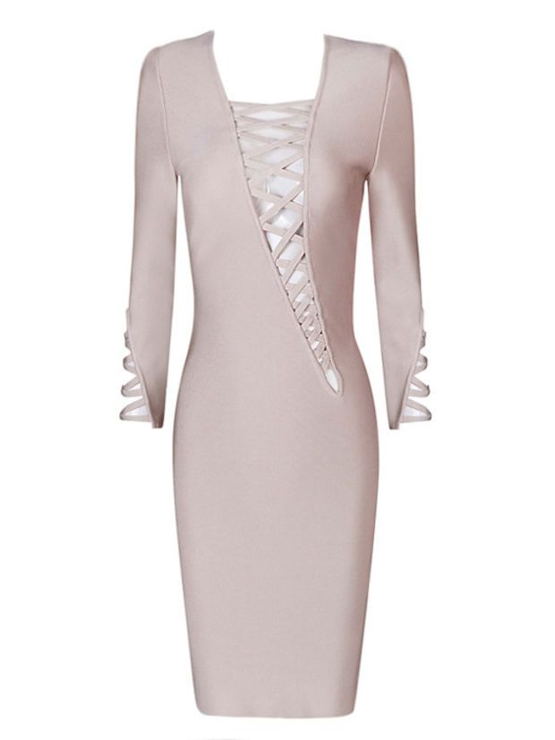 Gia Nude Asymmetric Cut Out Lace Up Long Sleeve Bandage Dress