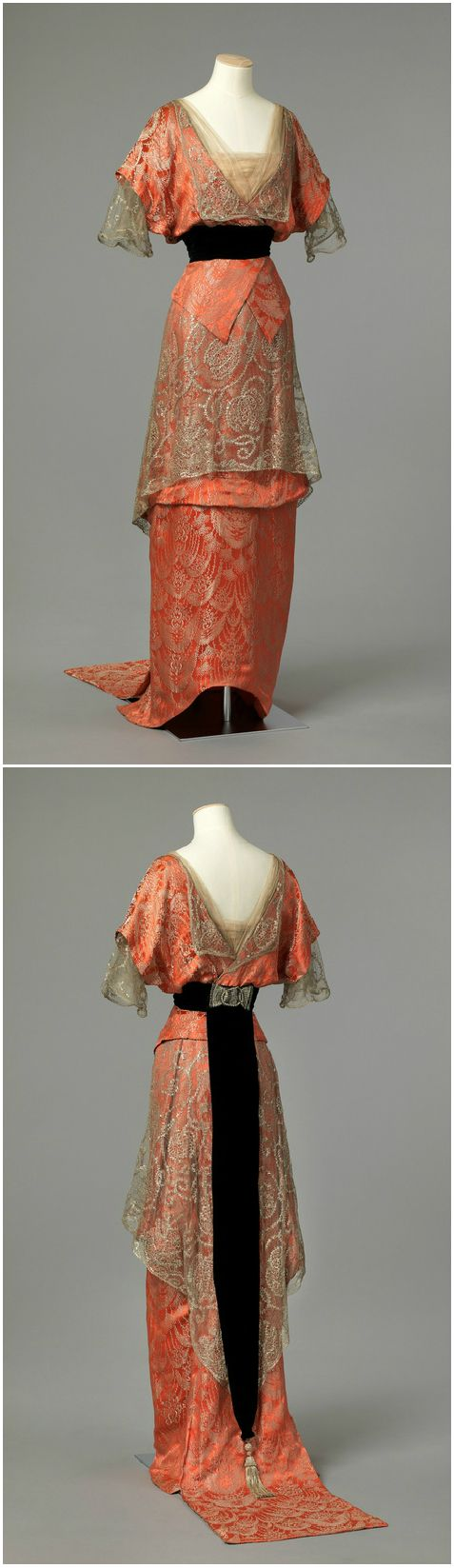 Evening dress, dated between 1913 and 1914, at the National Museum of Art, Architecture and Design. See: http://digitaltmuseum.no/things/aftenkjole/NMK-D/OK-1962-0008?js=1&owner_filter=NMK-D&query=kjole&rows=24&search_context=1&sort_by=&js=1&page=3&count=160&pos=55
