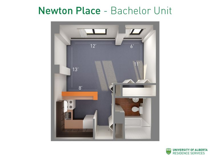 Floorplan with dimensions for bachelor units in Newton Place. #ualberta