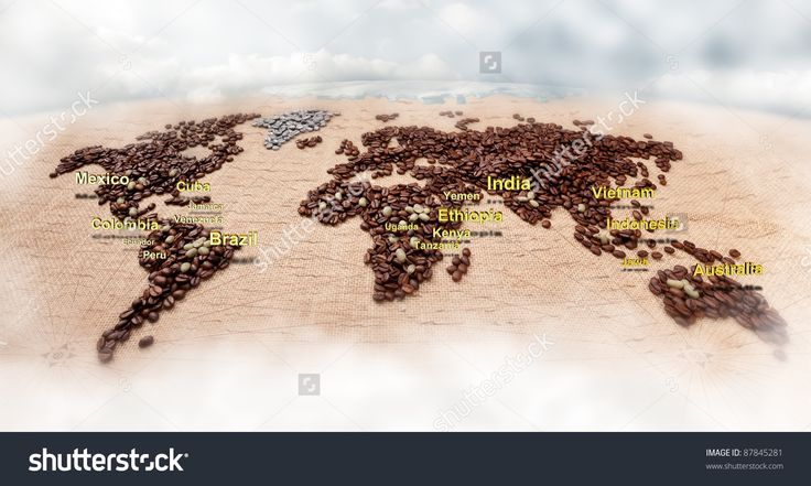 Image Of World Map Made Of Coffee Grains With Most Coffee Exporters Countries Marked On It Stock Photo 87845281 : Shutterstock