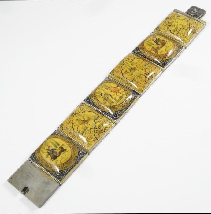 Antique Early 20c Superb Persian Silver Miniature Painting Panel Bracelet