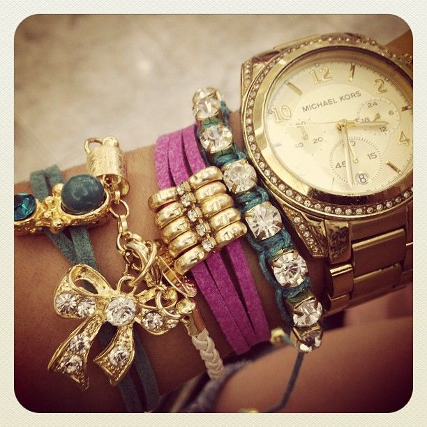 All Things Girly & Beautiful: Colors Combos, Arm Candy, Stacking Bracelets, Wrist Candy, Gold Watches, Michael Kors Watches, Arm Parties, Men Watches, Bling Bling