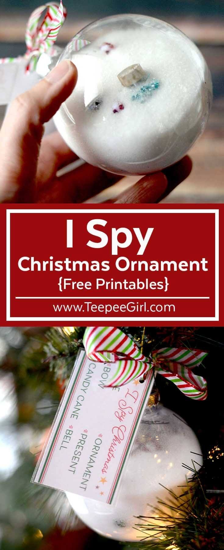 I Spy Christmas Ornament/Christmas Gift & Craft Idea for Kids! This fun I Spy Christmas Ornament makes a great gift, & kids love to make them! Get the free printables & learn how to make these at www.TeepeeGirl.com. #Christmasprintable #Christmascraft #ChristmasActivityForKids #Christmasgiftforkids