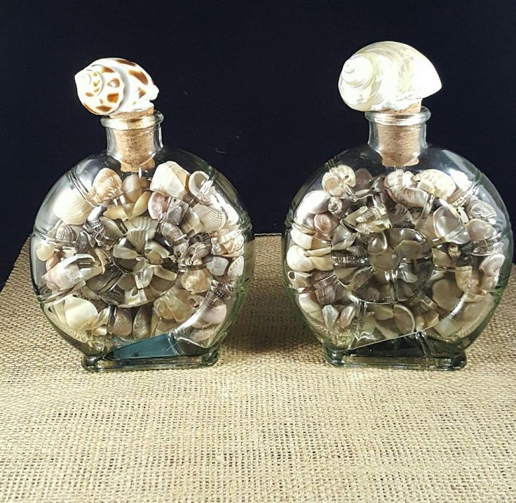 Shell glass jars filled with small shell,  Coastal home decor by BeachHomeDecor on Etsy