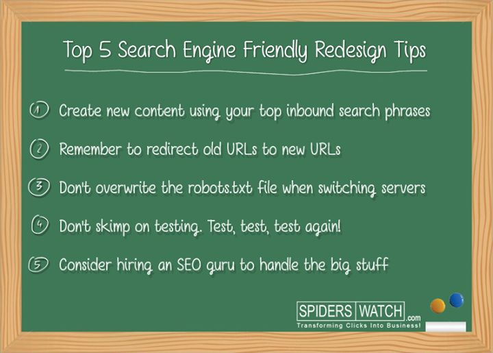 5 Search Engine Tips for friendly Redesign Site